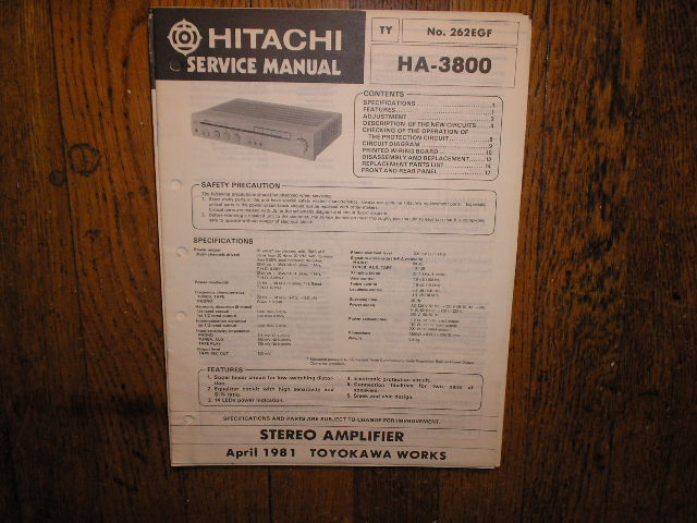HA-3800 Stereo Amplifier Service Manual