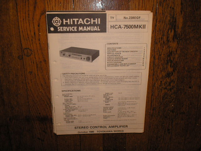 HCA-7500 MK II 2 Stereo Control Amplifier Service Manual