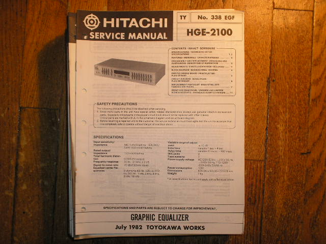 HGE-2100 Graphic Equalizer Service Manual