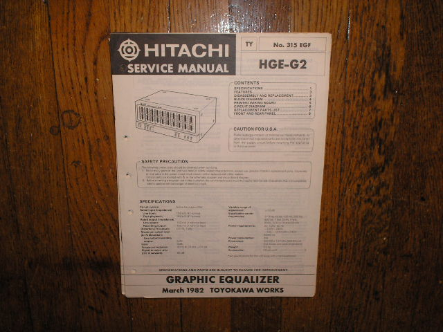HGE-G2 Graphic Equalizer Service Manual