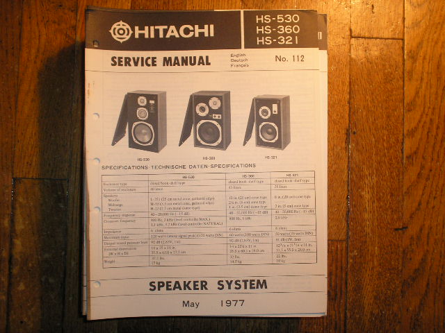 HS-321 HS-360 HS-530 Speaker System Service Manual