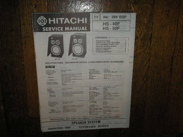 HS-40F HS-50F Speaker System Service Manual