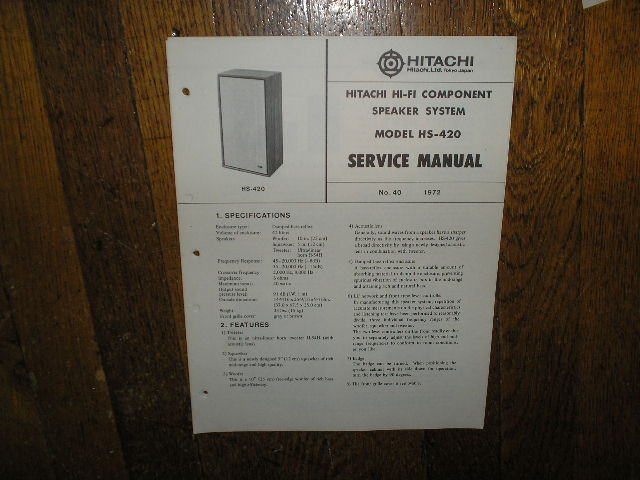 HS-420 Speaker System Service Manual