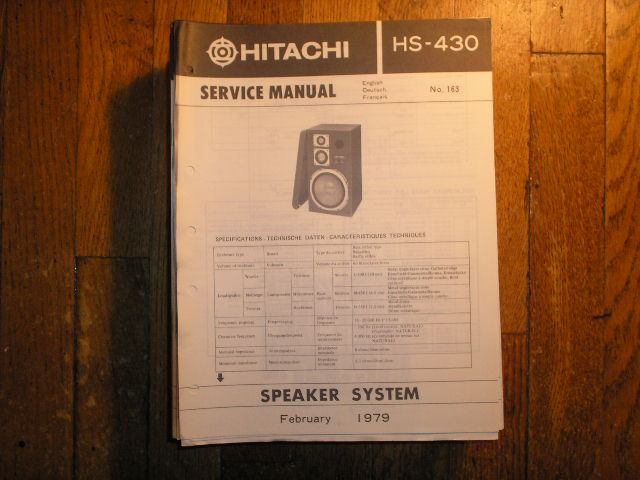 HS-430 Speaker System Service Manual