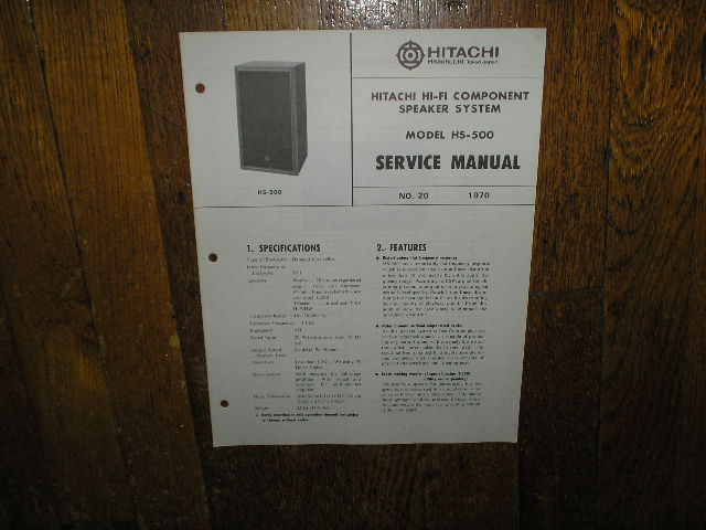 HS-500 Speaker System Service Manual