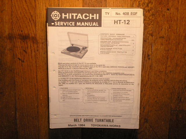 HT-12 Belt Drive Turntable Service Manual....