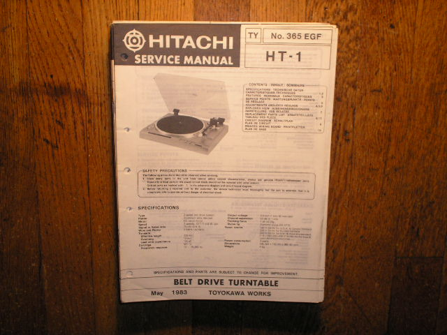 HT-1 Belt Drive Turntable Service Manual