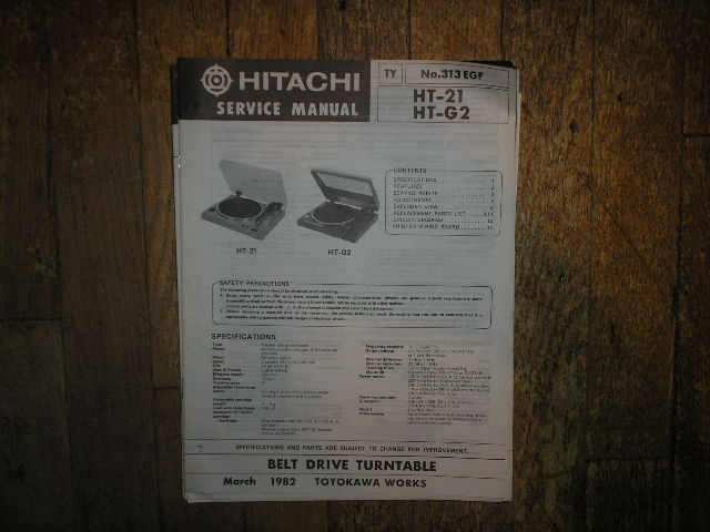 HT-21 HT-G2 Belt Drive Turntable Service Manual