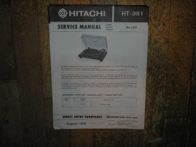 HT-351 HT-350 Direct Drive Turntable Service Manual