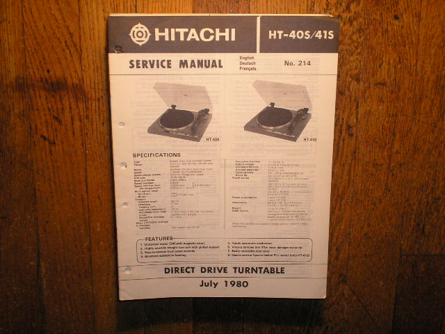 HT-40S HT-41S Direct Drive Turntable Service Manual