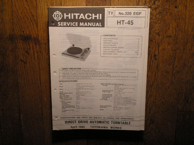 HT-45 Direct Drive Turntable Service Manual