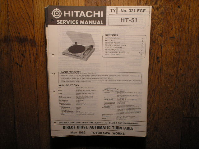 HT-51 Direct Drive Turntable Service Manual