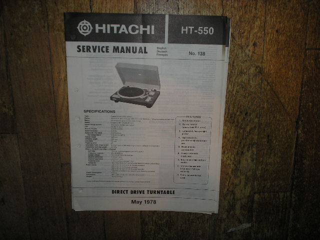 HT-550 Direct Drive Turntable Service Manual