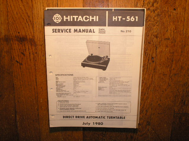 HT-561 Direct Drive Turntable Service Manual....