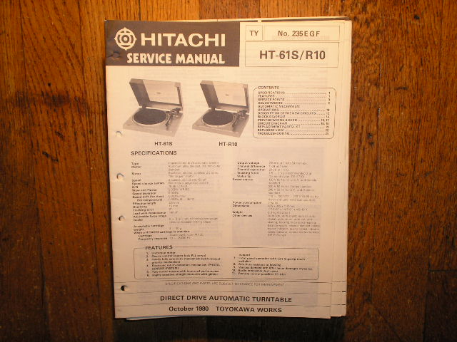 HT-61S HT-R10 Direct Drive Turntable Service Manual....