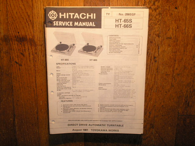 HT-65S HT-66S Direct Drive Turntable Service Manual....