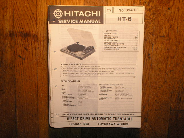HT-6 Direct Drive Turntable Service Manual