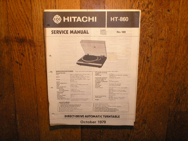 HT-860 Direct Drive Turntable Service Manual....
