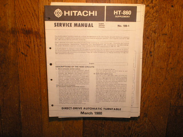 HT-860 Direct Drive Turntable Service Manual Supplement