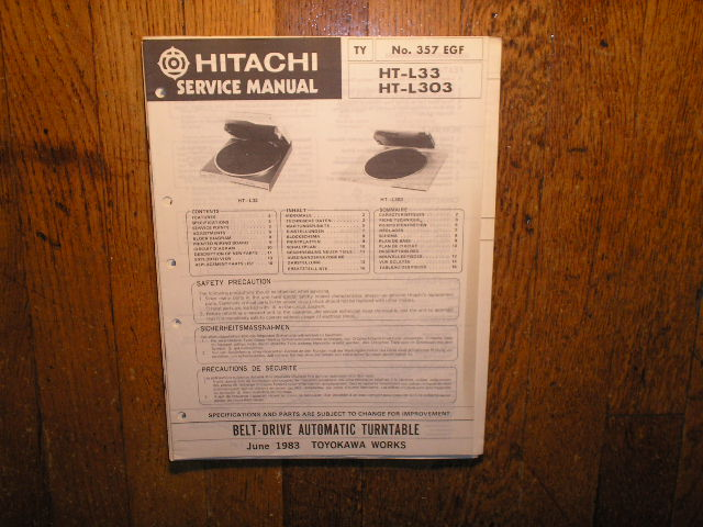 HT-L33 HT-L303 Belt Drive Turntable Service Manual