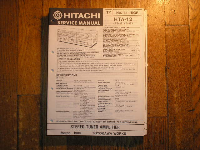 HTA-12 FT-12 HA-12 Stereo Tuner Amplifier Service Manual