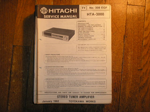 HTA-3000 Stereo Tuner Amplifier Service Manual