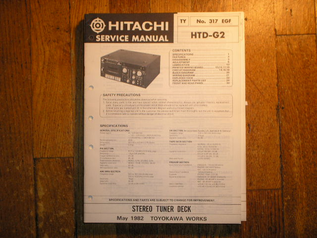 Hitachi HTD-G2 RADIO/CASSETTE Service Manual..