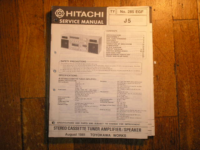 Hitachi J5 RADIO/CASSETTE Service Manual..