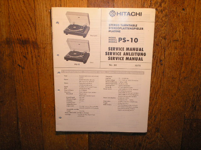 PS-10 Belt Drive Turntable Service Manual