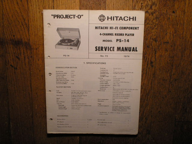 PS-14 Belt Drive Turntable Service Manual