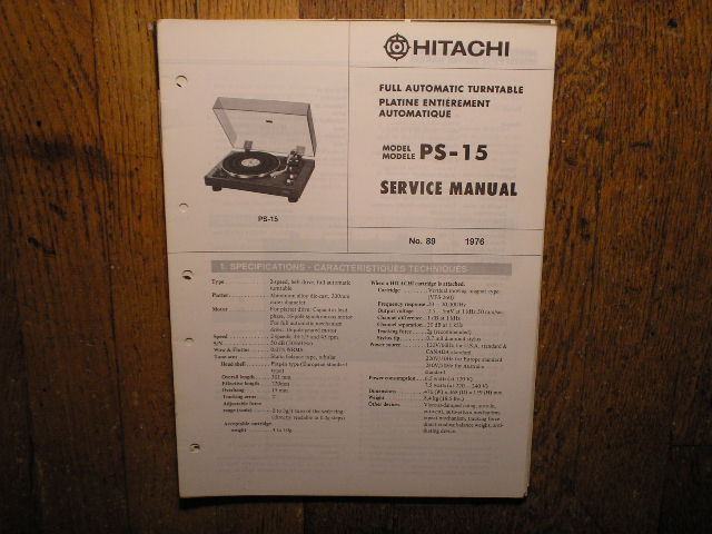 PS-15 Belt Drive Turntable Service Manual