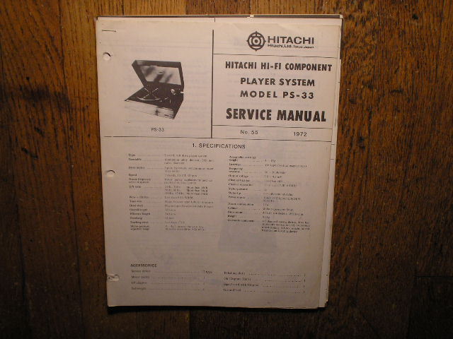 PS-33 Belt Drive Turntable Service Manual