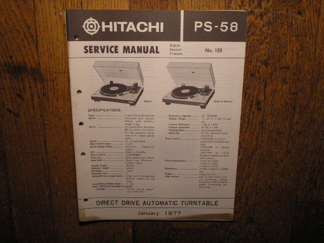 PS-58 Belt Drive Turntable Service Manual
