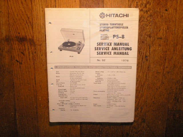 PS-08 PS-8 Belt Drive Turntable Service Manual