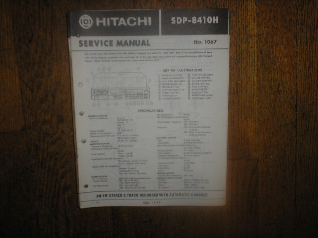 SDP-8410H  8-Track Recorder Stereo System Service Manual