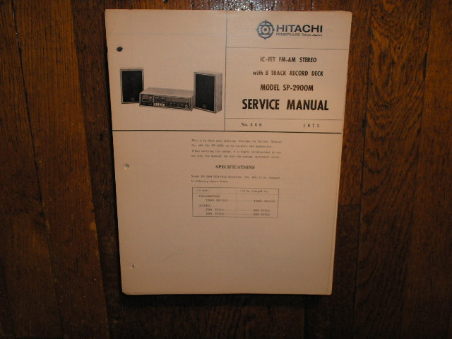 SP-2900M 8-TRACK  Stereo System Service Manual