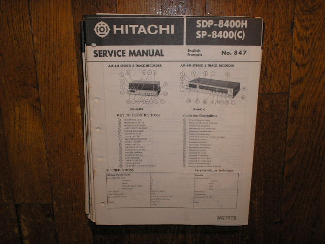 SDP-8400H SP-8400 SP8400C AM FM 8 Track Recorder Service Manual