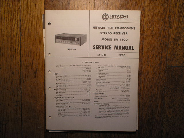 SR-1100 Receiver Service Manual