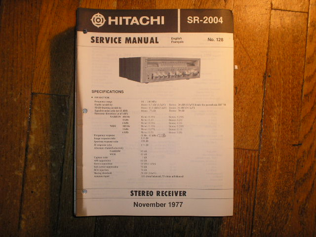 SR-2004 Receiver Service Manual