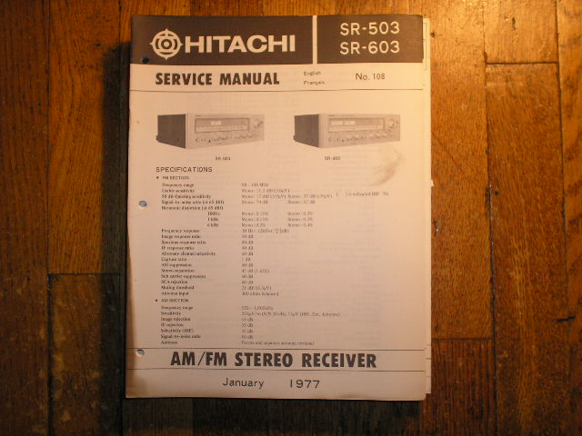 SR-503 SR-603 Receiver Service Manual