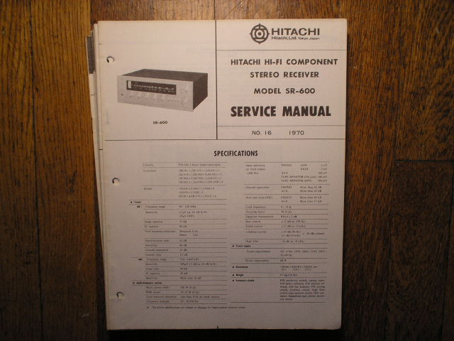 SR-600 Stereo Receiver Service Manual