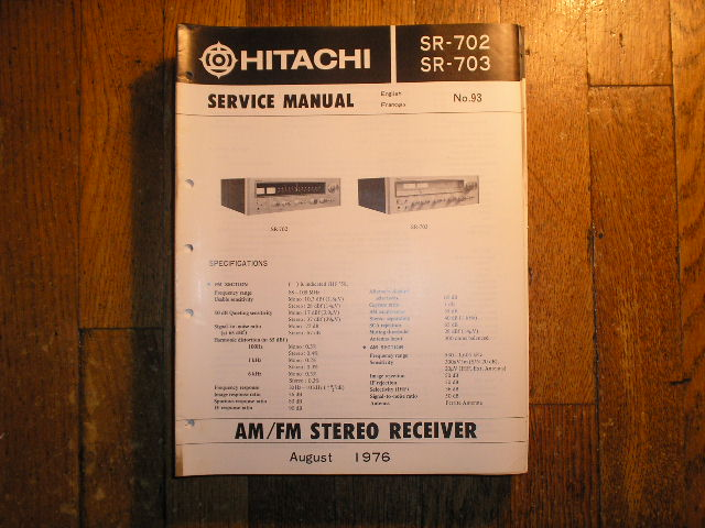 SR-702 SR-703 Receiver Service Manual