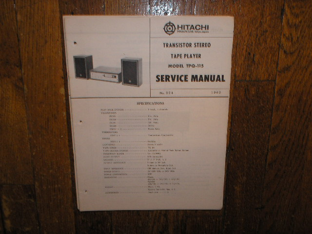 TPQ-115 8-TRACK TAPE PLAYER  Stereo System Service Manual