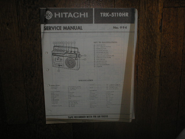 TRK-5110HR CASSETTE RADIO Service Manual