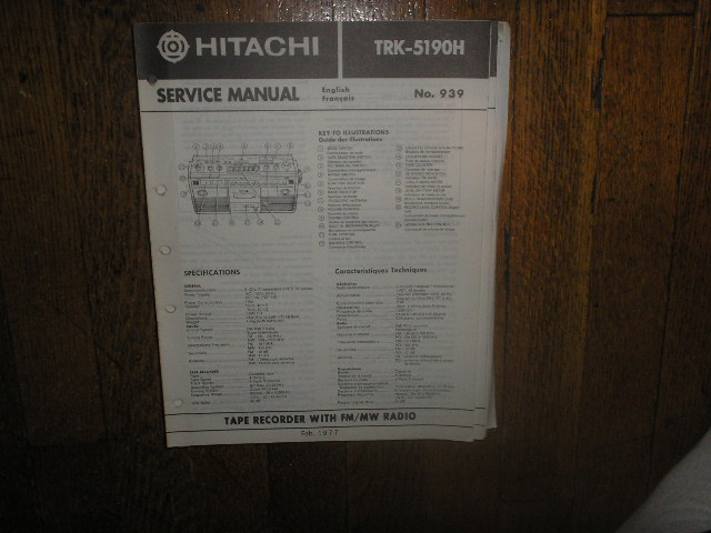 TRK-5190H CASSETTE RADIO Service Manual