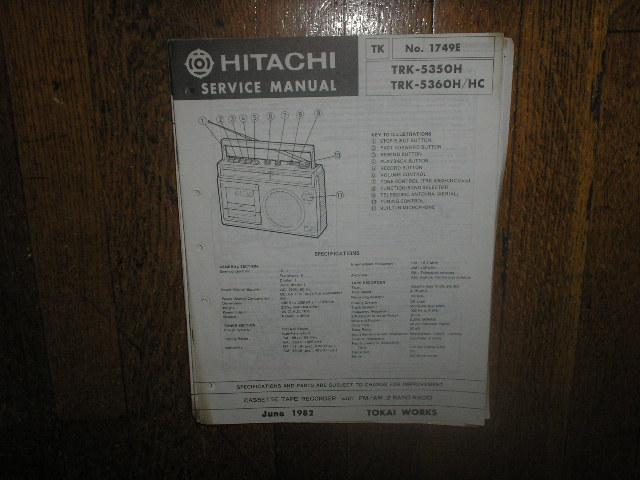 TRK-5350H TRK-5360H TRK-5360HC CASSETTE RADIO Service Manual