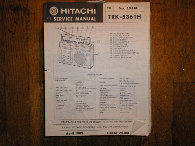 TRK-5361H CASSETTE RADIO Service Manual