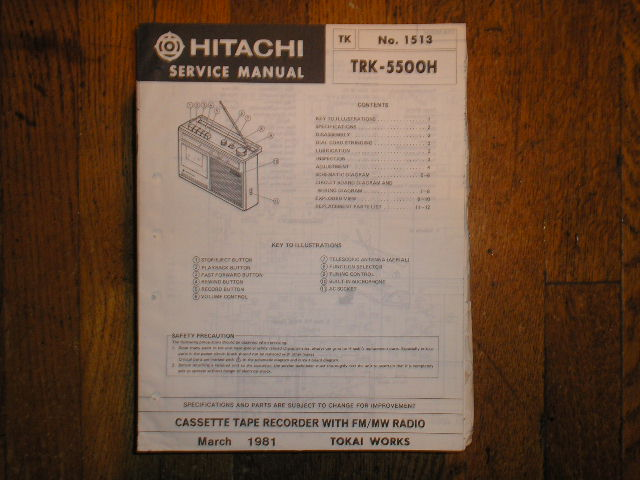TRK-5500H CASSETTE RADIO Service Manual