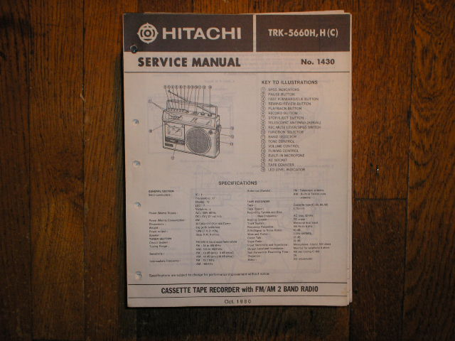 TRK-5660H TRK-5660HC CASSETTE RADIO Service Manual