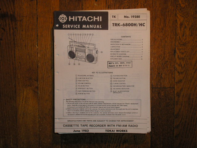 TRK-6800H TRK-6600HC  CASSETTE RADIO Service Manual